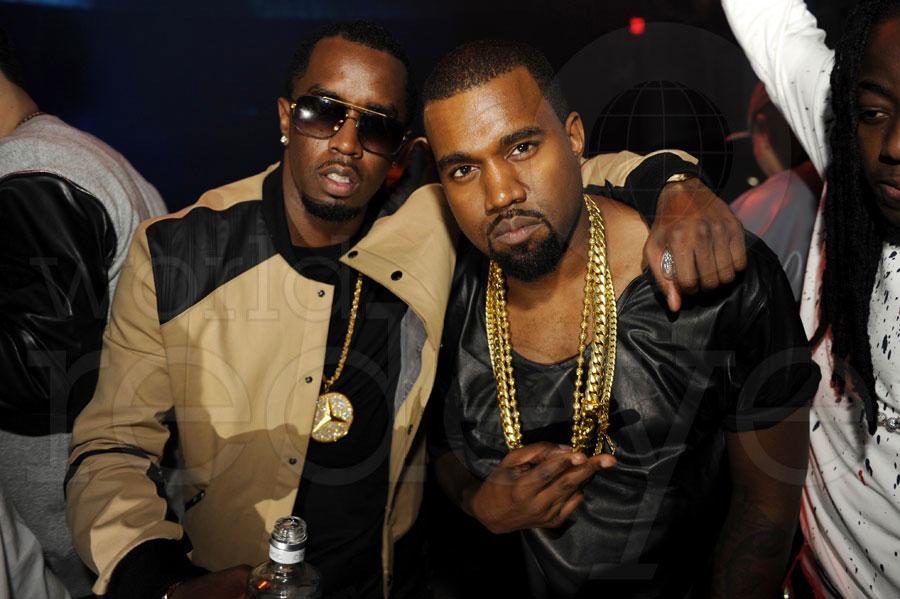Kanye West and Kim Kardashian run into P Diddy while